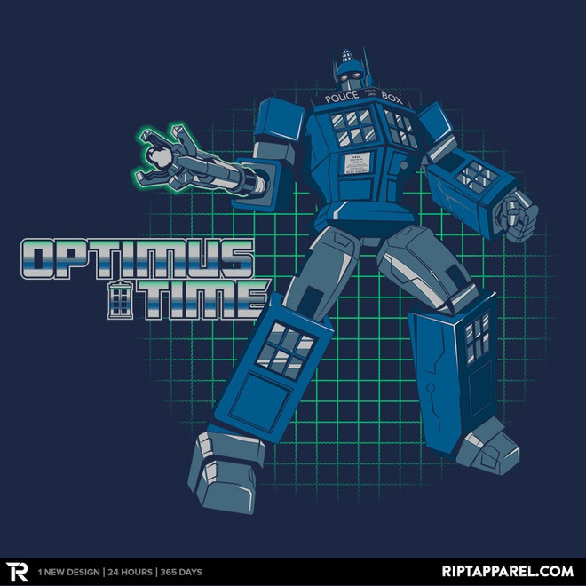 Greatest mashup: Transformer Optimus Prime and Dr. Who's TARDIS.