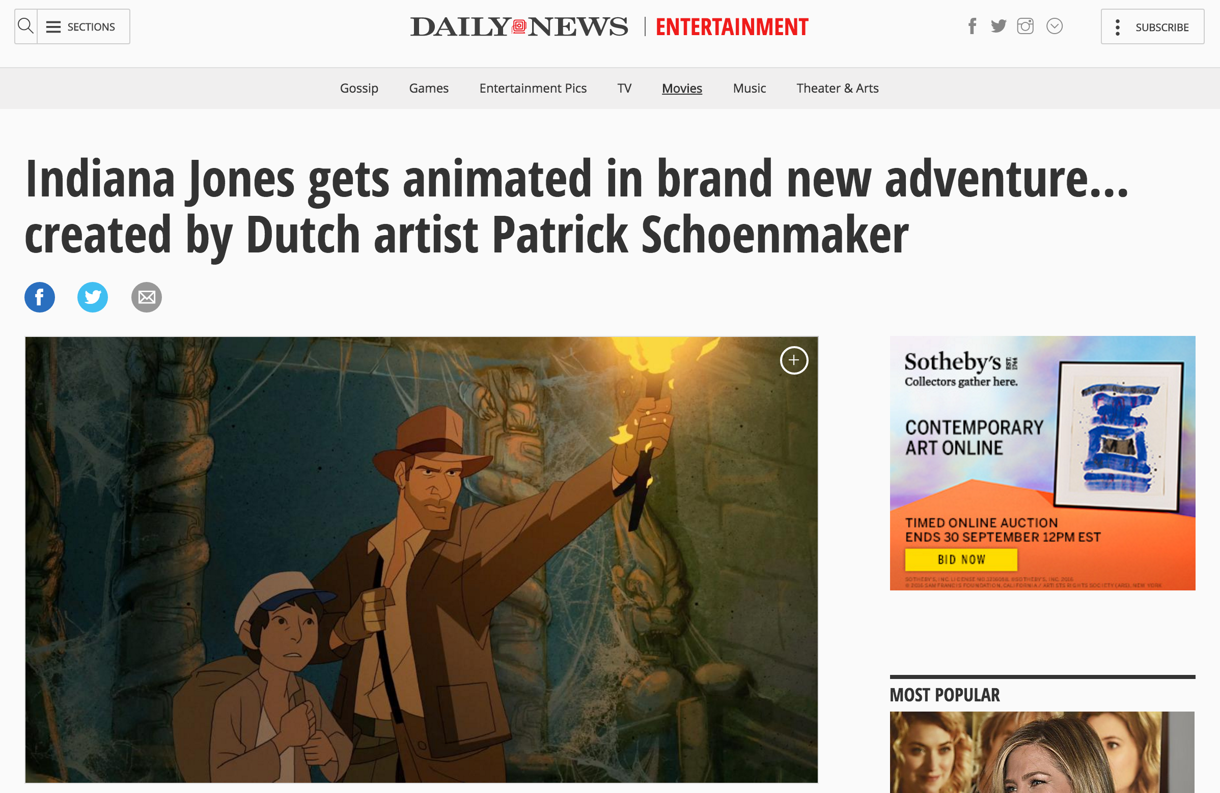 "Animated ""Indiana Jones"" article over at New York Daily News"